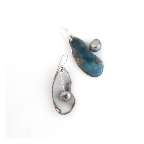 Enamel Shell and Black Pearl Earrings