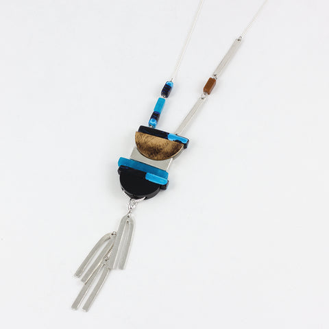 Resin and Glass Necklace - Glacier
