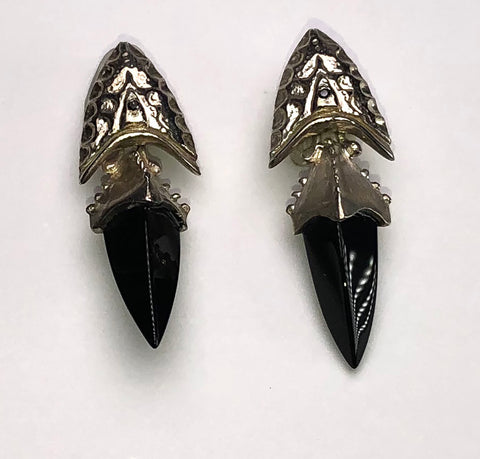 Onyx and Sterling Silver Spike Earring