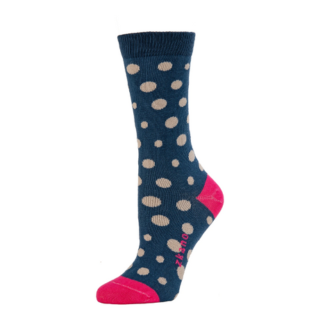 Polka Dot Navy Crew Socks - Medium Unisex