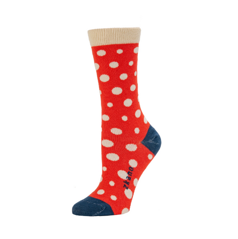 Lucy Polka Dot Poppy Crew Socks - Medium Unisex