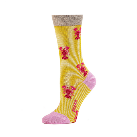 Lobsters Citron Crew Socks - Medium Unisex