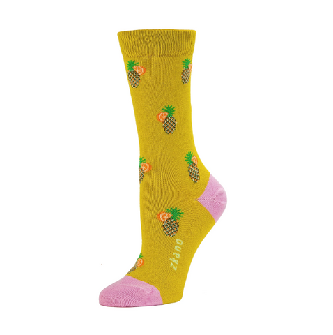 Tropical Citron Organic Cotton Crew Socks - Women