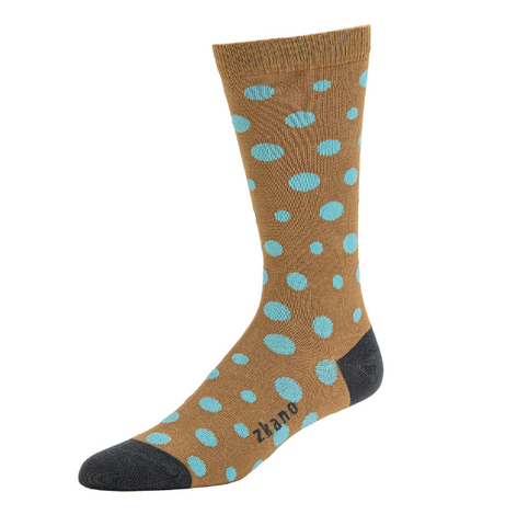Diagonal Dot in Mushroom Organic Cotton Crew Socks - Large Unisex