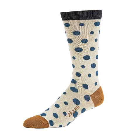 Diagonal Dot in Natural Organic Cotton Crew Socks - Large Unisex