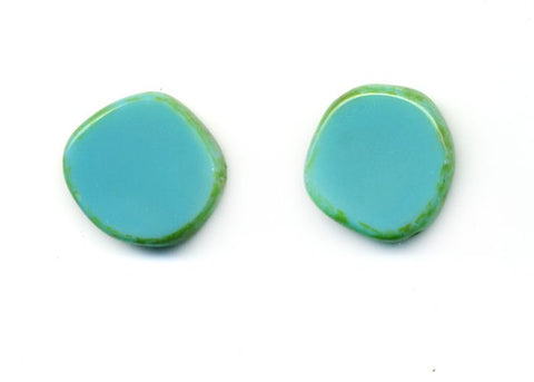 Glass Circle Stud Earrings, Turquoise - Stefanie Wolf