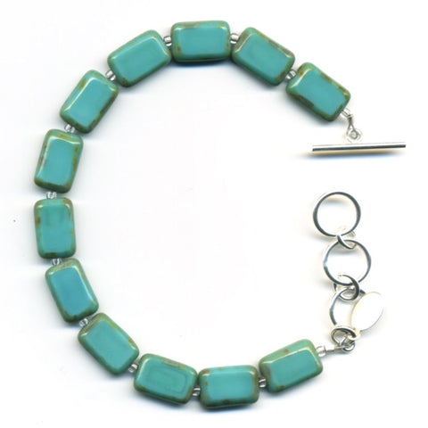 Mosaic Glass Tile Bracelet in Turquoise - Stefanie Wolf