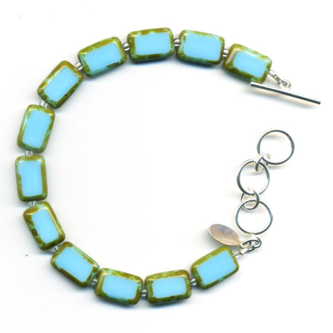 Mosaic Glass Tile Bracelet in Sky Blue - Stefanie Wolf