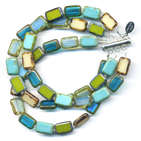 Mosaic Glass Tile Bracelet, 3-Strand in Tidepool Mix Color - Stefanie Wolf