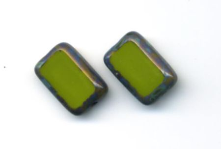 Glass Rectangle Post Earrings, Sterling Silver, Avocado .- Stefanie Wolf