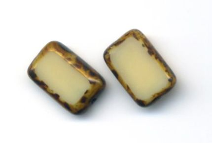 Glass Rectangle Post Earrings, Sterling Silver, Ivory .- Stefanie Wolf