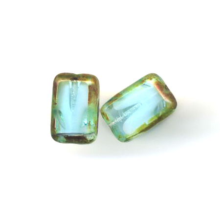 Glass Rectangle Post Earrings, Sterling Silver, Aqua.- Stefanie Wolf