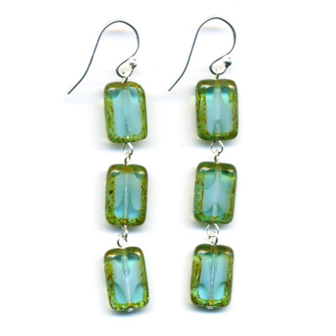 Glass Tile Earrings, Sterling Silver in Aqua - Stefanie Wolf