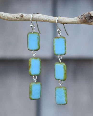 Glass Tile Earrings, Sterling Silver in Sky Blue - Stefanie Wolf