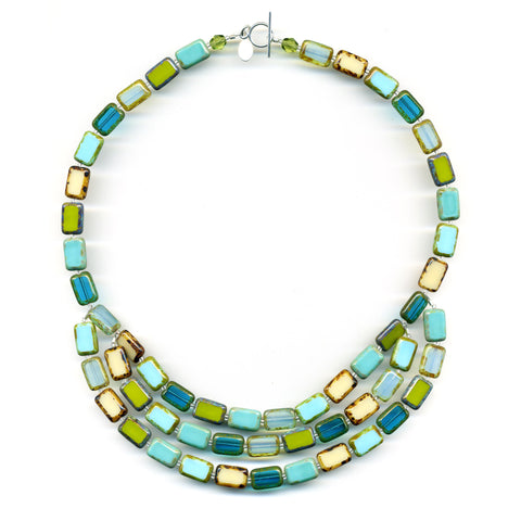 3 Strand Mosaic Glass Tile Necklace in Tide Pool - Stefanie Wolf