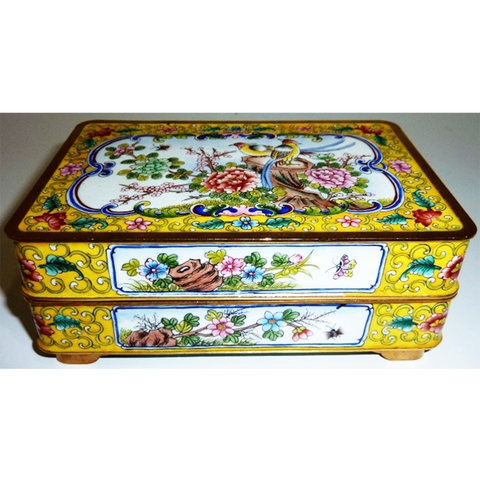 Yellow Cloisonné Covered Box