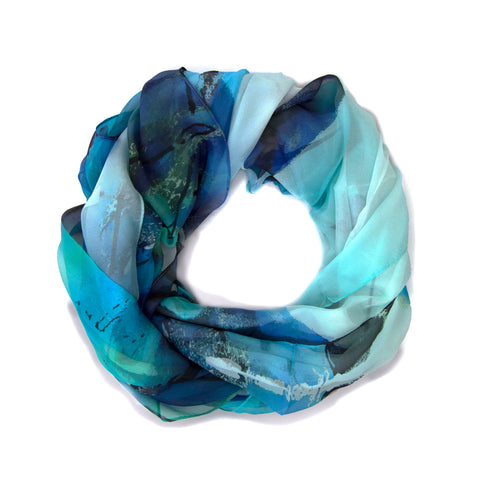Turquoise Abstract Silk Scarf
