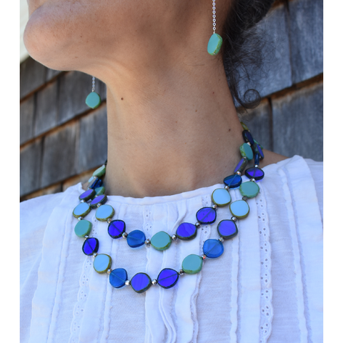 Long Glass Circle Necklace in Ocean - Stefanie Wolf