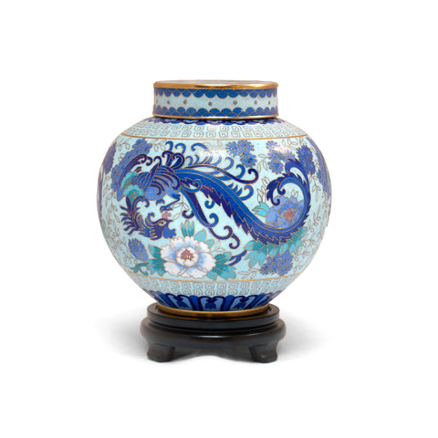 Blue and White Phoenix Cloisonne Covered Jar