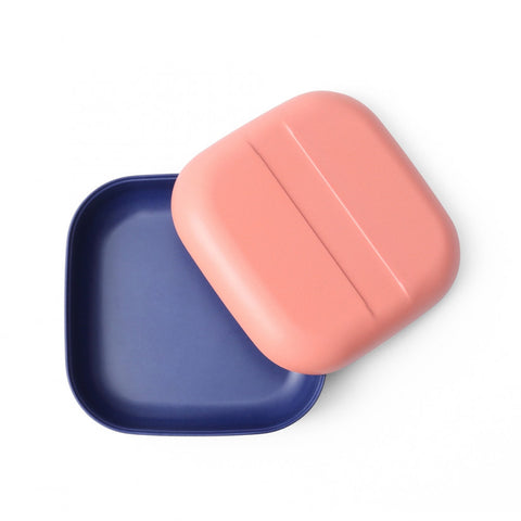 Bamboo Snack Box - Coral Royal Blue