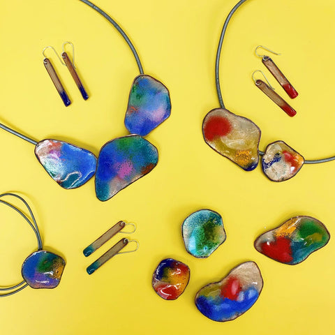 Abstract Enameled Necklace - Small Single Pendant