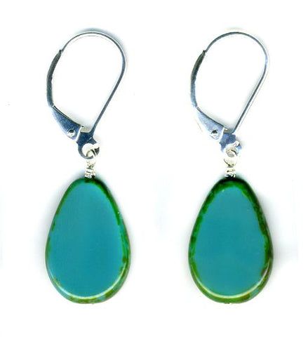 Glass Teardrop Earrings, Turquoise- Stefanie Wolf