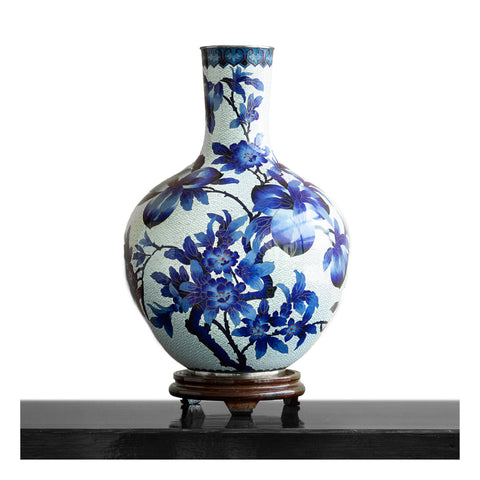 Blue and White Floral Cloisonne Vase