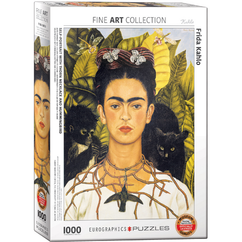 Self-Portrait with Thorn Necklace and Hummingbird by Frida Kahlo - 1000 Piece Puzzle