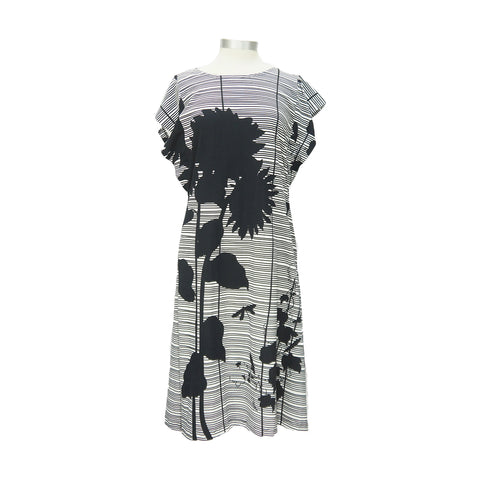 Black Floral Graphic Cotton Striped Dress
