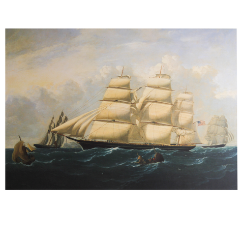 Clipper Ship 'Hurricane' in the English Channel Vintage Print Reproduction