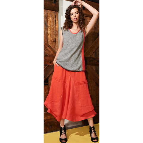 Poppy Rayon and Linen Skirt by Khangura