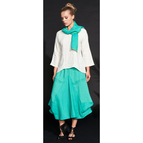 Jade Rayon and Linen Skirt by Khangura