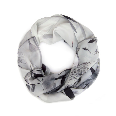 Lotus Black and White Silk Scarf