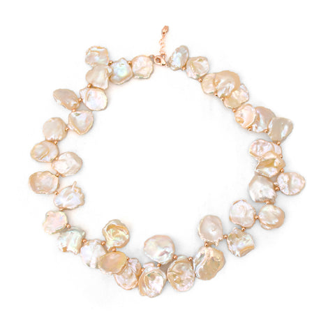 Peach Biwa Pearl Necklace