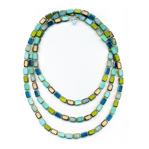 Mosaic Glass Tile Necklace in Tide Pool - Stefanie Wolf