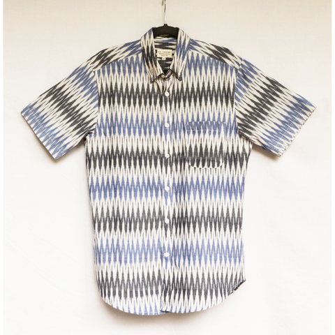Men's Blue & Grey Ikat Shirt - Ron