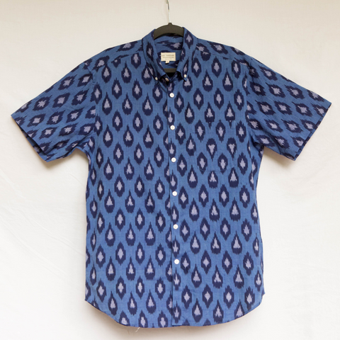 Men's Blue Navy Ikat Shirt - Sasha