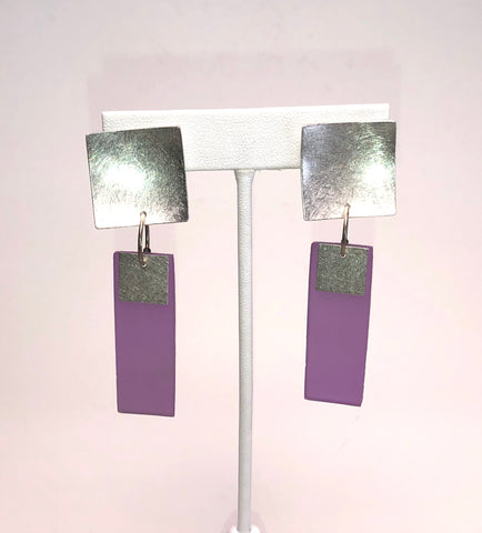 Clip-On Silver Rectangle Earrings - Pink