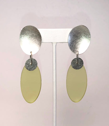 Clip-On Silver Oval Earrings Lime