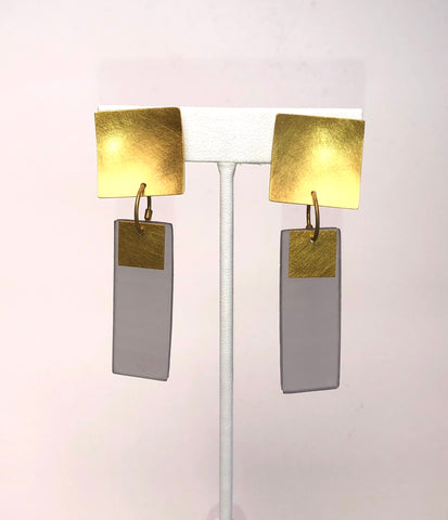 Clip-On Gold Rectangle Earrings Grey