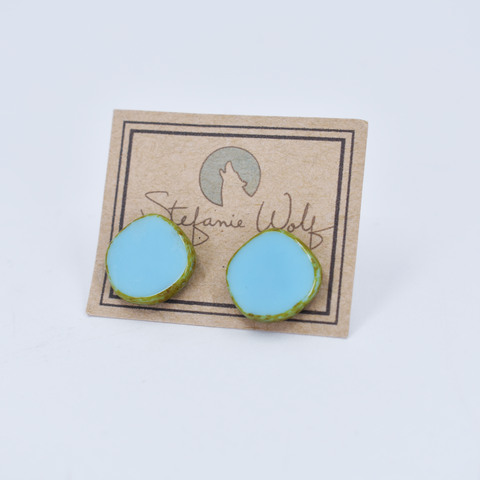 Glass Circle Stud Earrings in Light Sky - Stefanie Wolf