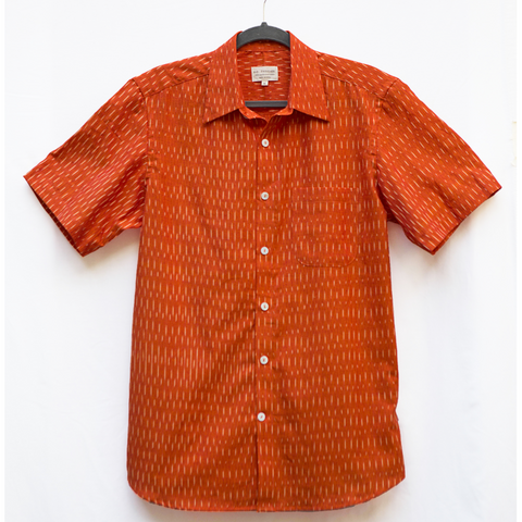 Men's Orange Ikat Shirt- Tyler