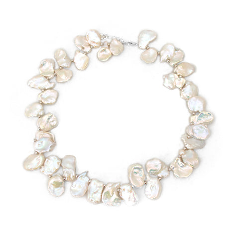 White Biwa Pearl Necklace