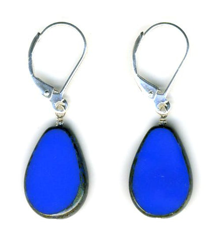 Glass Teardrop Earrings, Periwinkle- Stefanie Wolf