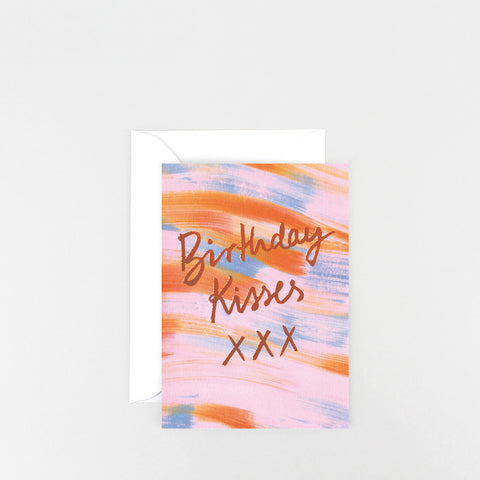 'Birthday Kisses' Foiled Greetings Card
