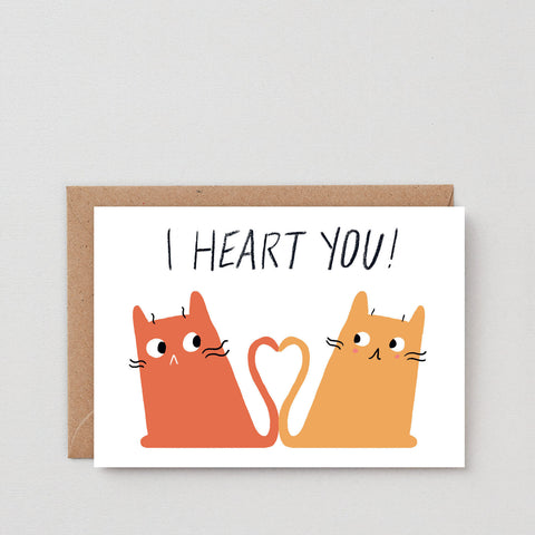 'I Heart You – Cats' Greetings Card