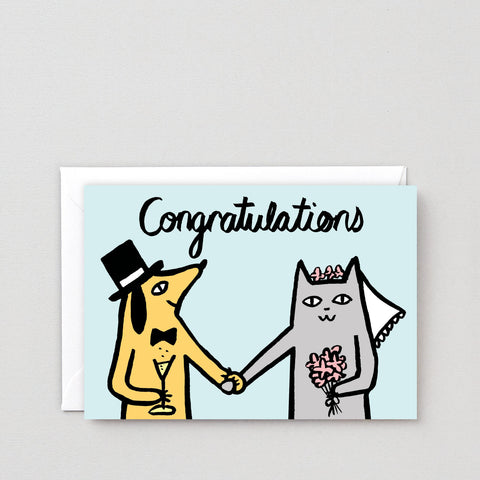 'Congratulations Dog and Cat' Greetings Card