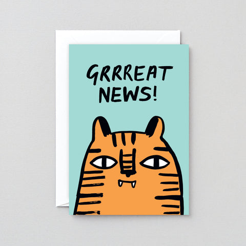 'Grrreat News!' Greetings Card