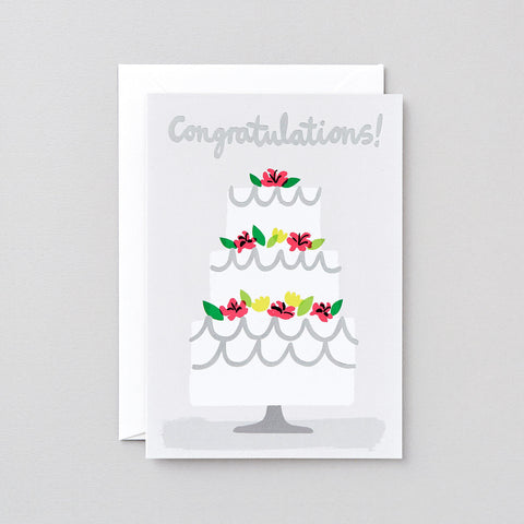 'Congratulations Cake' Foiled Greetings Card
