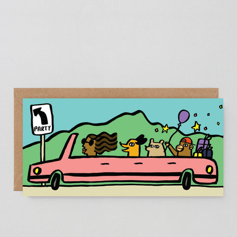 'Party Car' Greetings Card
